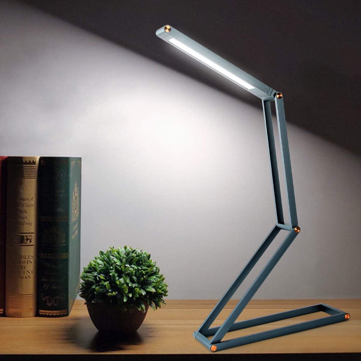 LED dimmbar und faltbar Mini Energiesparende Schreibtischlampe Buchlampe Arbeitslampe Tageslichtlampe Akku Leselampe faltbar mit Micro USB Ladekabel ELZO LED Aluminium Tischlampe mit Schwenkkopf
