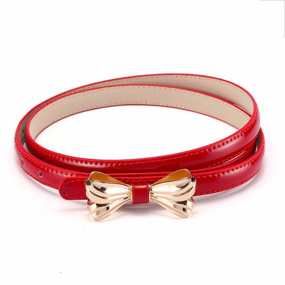 SAIBANGZI Ms Women All Seasons Woman Belt Butterfly Knot Pupil Leather Trim Fine Belt Girlfriend Present Red 74-90Cm