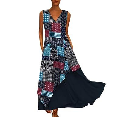 40efd894219e Levifun Vestidos Mujer 2019 Verano Vestidos Playa Mujer Vestidos Casuales  Vestido Verano Vestido Casual Vestido Bohemio con Cuello en v