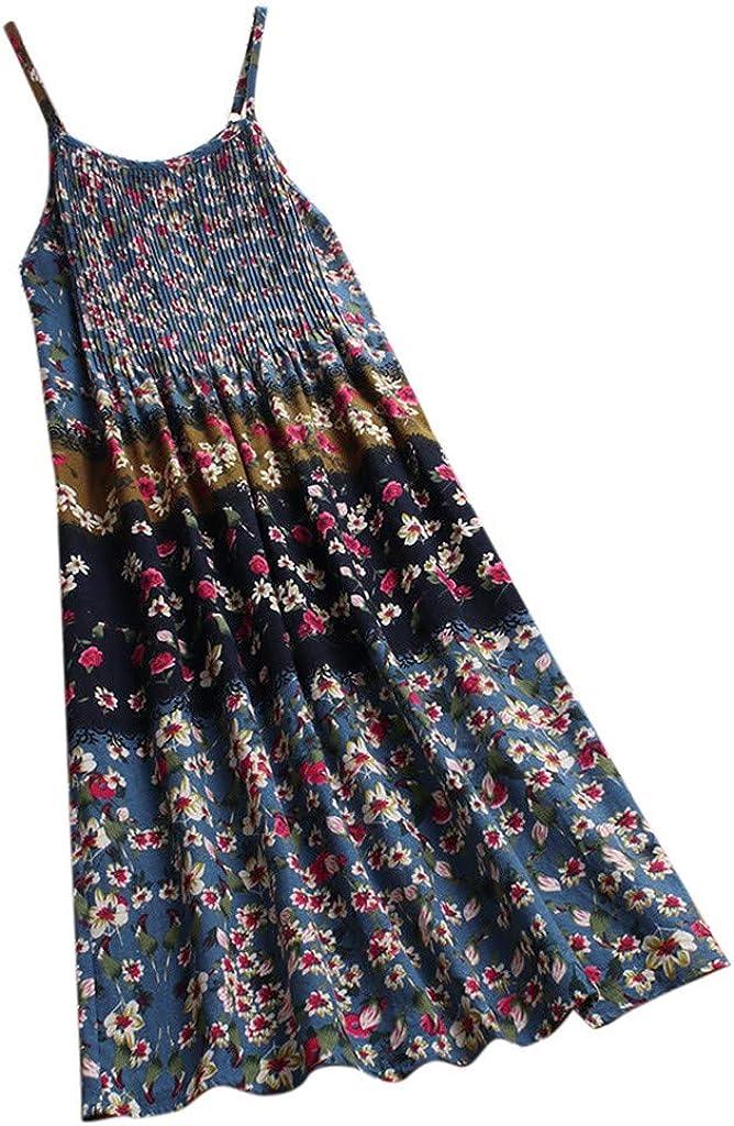 Boho Floral Strap Loose Swing Sundress Vintage Pleated Long Dresses Women Sleeveless Linen Maxi Dress