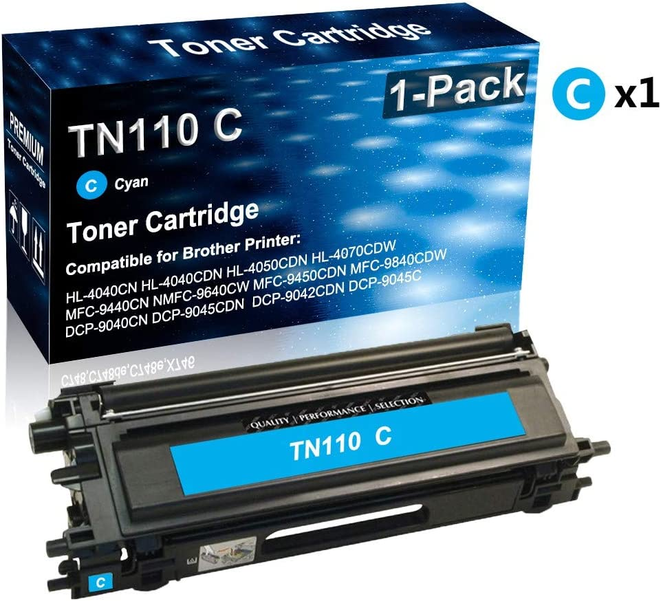 Cyan Compatible High Yield TN110 TN110C Toner Cartridge use for Brother Color HL-4040CDN HL-4070CDW MFC-9440CN DCP-9040CN Series Printer 1-Pack