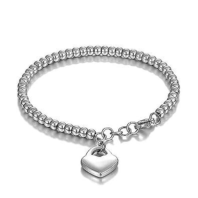 foto ufficiali 52626 60d36 Keybella Bracciale Braccialetto per Donna Braccialetto perline in acciaio  inox con pendente cuore,colore a scelta