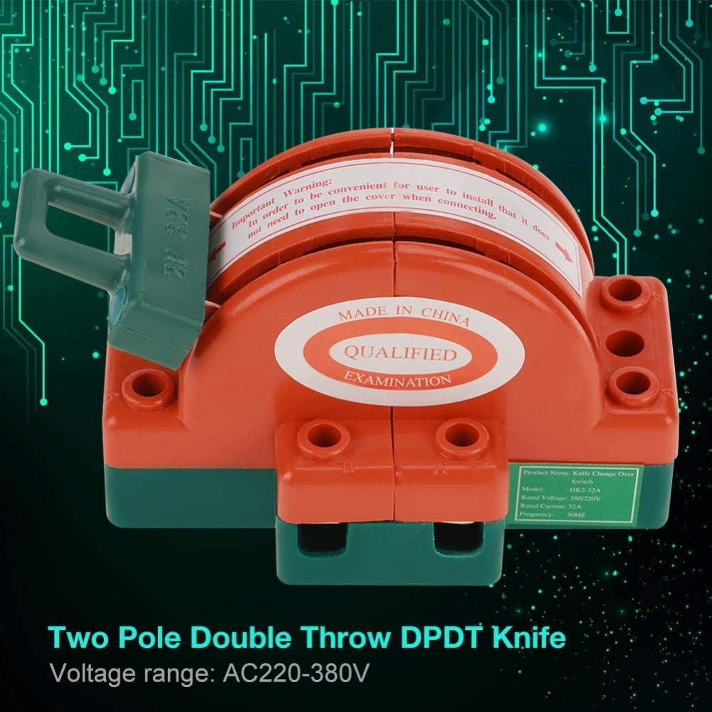 32A DPDT Switch 2 Pole Double Throw Change Over Safety Disconnect 220V//380V