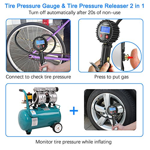 Acekool Digital Tire Inflator with Pressure Gauge,250 PSI Heavy Duty Air Chuck Tire Inflator & Deflator Tool with Rubber Hose, Quick Connect Coupler and 1/4'' NPT for Trucks, Automobiles and Motorcycle by Acekool (Image #4)