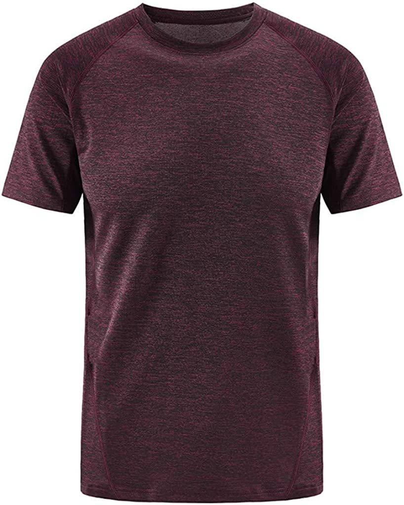 8XL Athletic Polyester Breathable Slim Fit Blouses Tops Pure Color Quick Dry Fashion Wild T Shirts Classic Mens