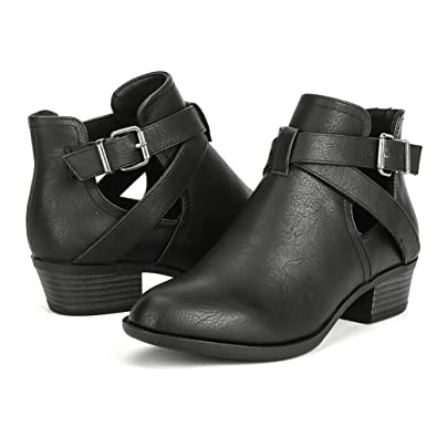 Chunky Heels Boots for Women Ankle Chelsea Buckle Boot Comfortable Work  Booties with Zipper 4abaf0e602