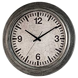 Ashton Sutton HOC014 Round QA Galvanized Wall Clock, 22-Inch