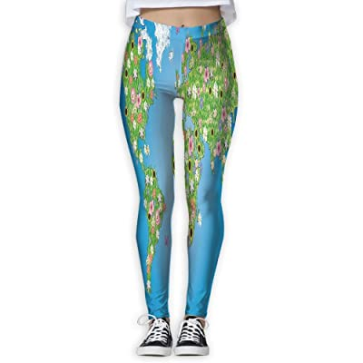 XINSHOU Women's Daisy Lily Daffodil Poppy Botany Bouquet Featured World Map With Grass Concept Spandex Leggings