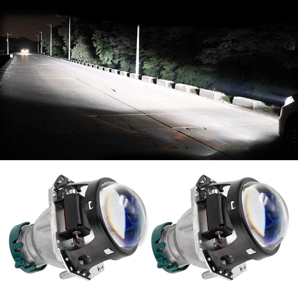 1 Pair 12V 6800IP 3 Inch Universal Car GRT Super Brightness Bifocal Lens with Blue Coating HD Glass Car Lamp Car Headlights