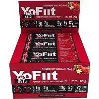 Keto - Barras para aficionados a la dieta baja en carbohidratos 2 g de carbohidratos de red. Snacks sin gluten y lácteos con proteína a base de plantas. Sabor a fresa y vainilla (12 unidades)