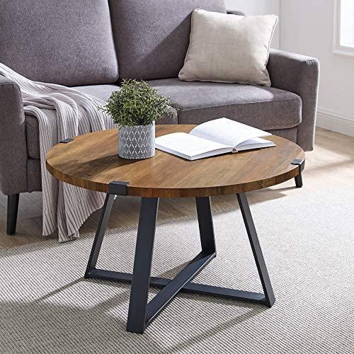 New 30 Inch Round Metal Wrap Coffee Table
