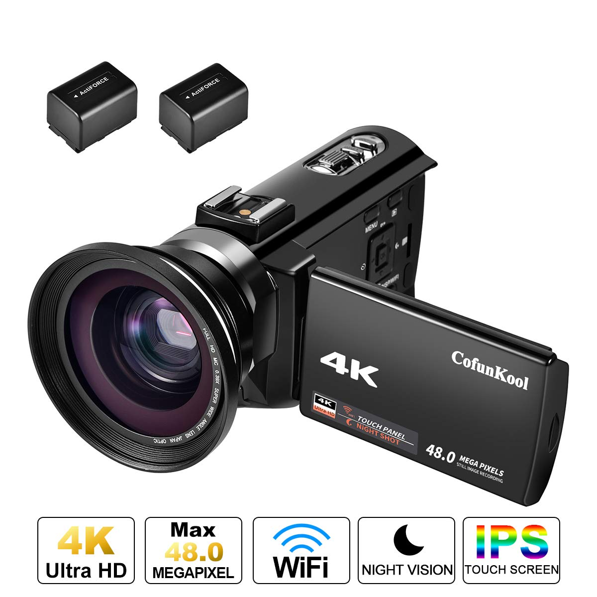 4K Camcorder, CofunKool WIFI Video Camera Ultra HD 1080p 60FPS 48MP 3.0' IPS Touch Screen 16X Digital Zoom Video Camcorder with IR Night Vision, Wide Angle Lens and 2 Batteries DOCAM 514KM