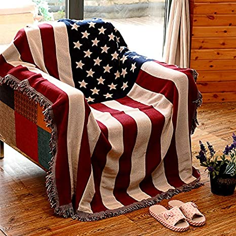 AFAHXX Jacquard Borla Funda de sofá,Bandera Americana Tiro ...
