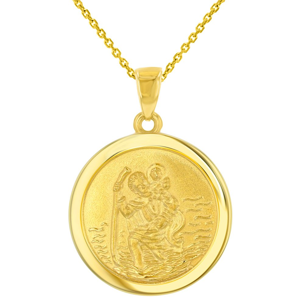 14k Yellow Gold Round Saint Christopher Medal Pendant Necklace, 16''