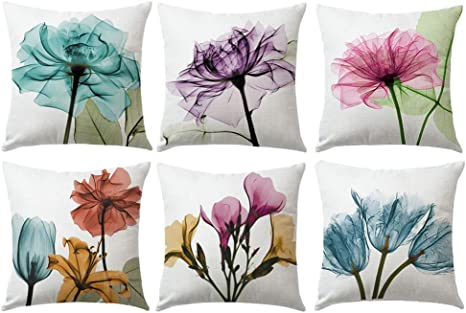 Amazon Com Ulove Love Yourself Ink Painting Tulips Throw Pillow Cover Multicolor Flowers Home Decorative Pillowcases Art Painting Floral Cushion Covers 18 18 Set Of 6 Tulips Home Kitchen