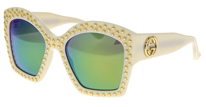 191641d2caa Amazon.com  GUCCI Gold STAR Stud GG3870S Oversized Ivory Lime ...