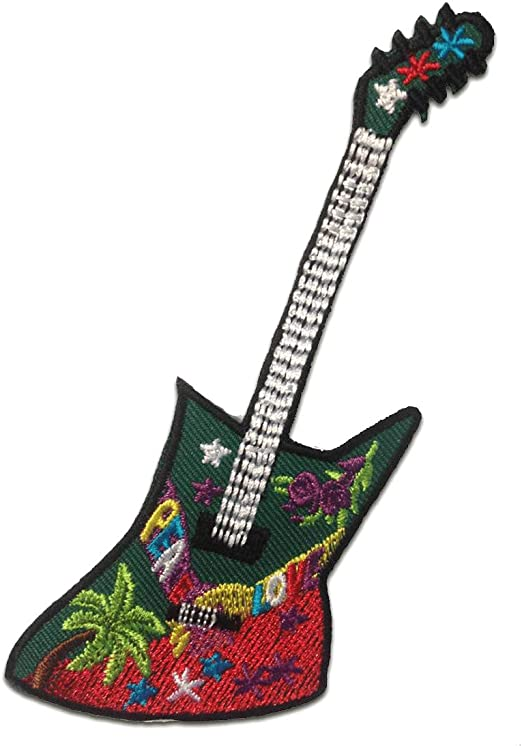 Parches - guitarra Hippie - colorido - 5.5x12.2cm - termoadhesivos ...