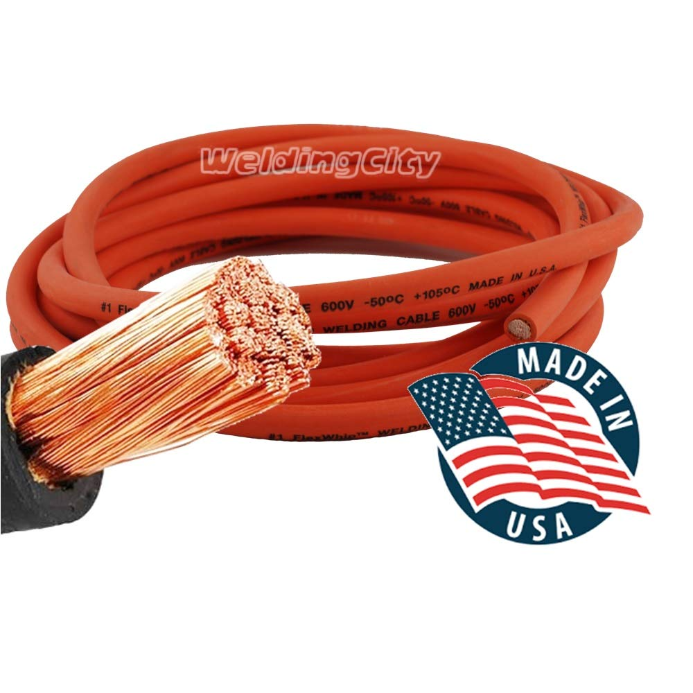 Whip Lead Stick Electrode Holder and Tweco-type Twist-lock Connector Set WeldingCity 10-ft 1-AWG Heavy Duty Welding Cable Orange Red Made in USA