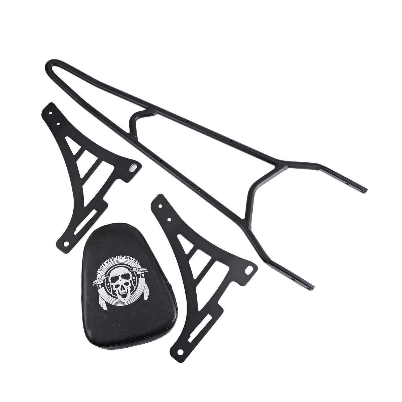 IRONWALLS Black Motorcycle Detachable Rear Backrest Sissy Bar for 2004-Up Harley Sportster XL 1200 883