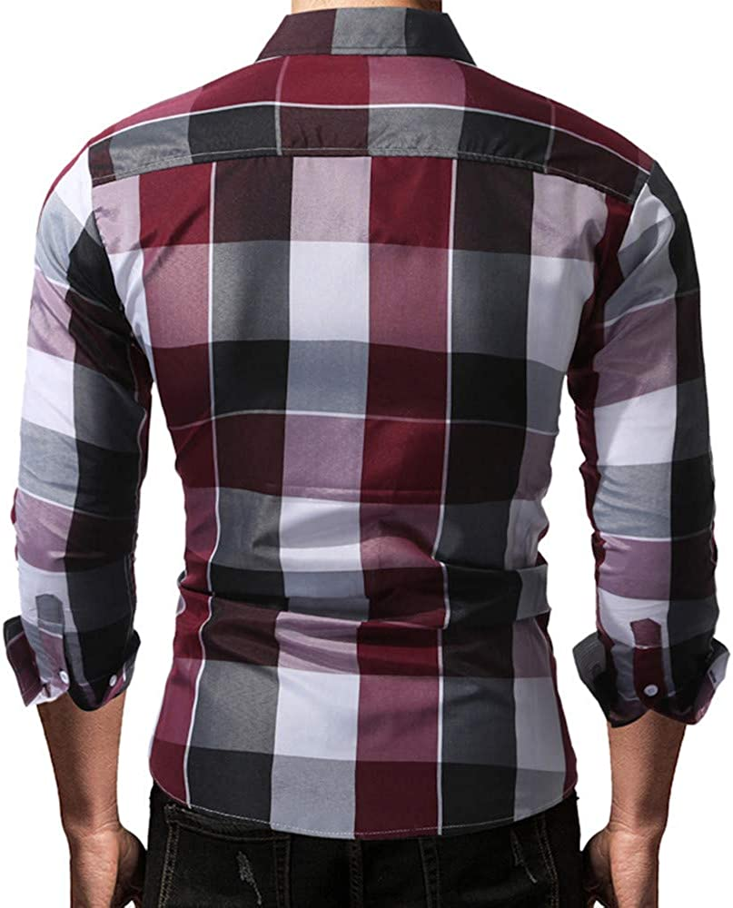 Mens Slim Fit Casual Work Long Sleeves Plaid Snap Button Down Shirts Red