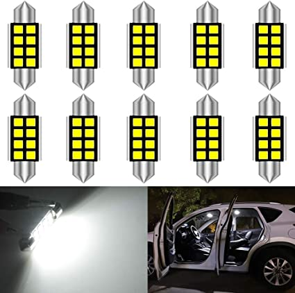 36mm 12 LED Canbus Libre de Errores Bombillas de Matrícula Apto VW