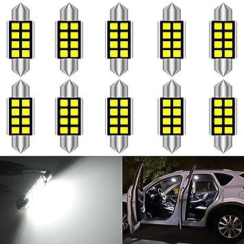 KaTur 10 unids C5W Bombillas 36mm LED CANbus Blanco Puro para Samsung 2835 SMD Luz de