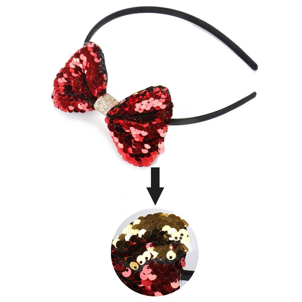 CHUANGLI Sequins Headdress Color Changing Hair Accessory Hair Hoop for Kids Girls Bowknot Sequins Headband