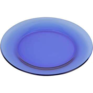Amazon.com Mainstays 7.5 Round Blue Glass Dinnerware Salad Plate Set Set of 6 Kitchen u0026 Dining  sc 1 st  Amazon.com & Amazon.com: Mainstays 7.5 Round Blue Glass Dinnerware Salad Plate ...