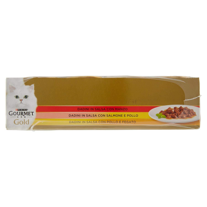 Unica Gourmet Gold PURINA Gold Vassoio Dadini in Salsa 3 Gusti Gr 24 85 X Pz Multicolore