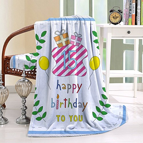 HAIXIA Blanket 15th Birthday Cute Cartoon Style Composition Branches Surprise Balloons
