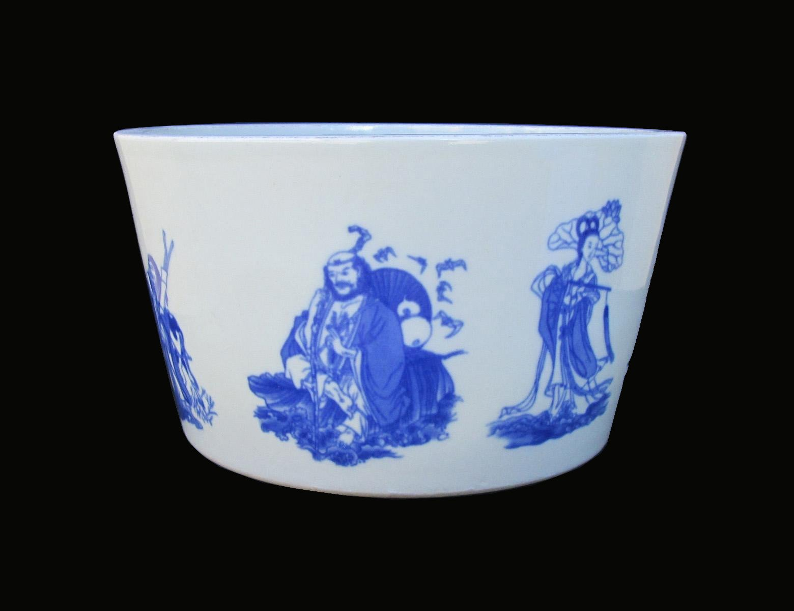 Chinese Handmade Blue & White Eight Immortals Painting Porcelain Pot af989 by Vase & Plate
