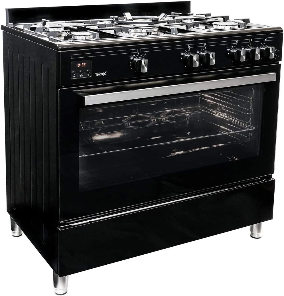 Teknix TKGF90BL - Cocina de gas (90 cm), color negro: Amazon.es: Grandes electrodomésticos
