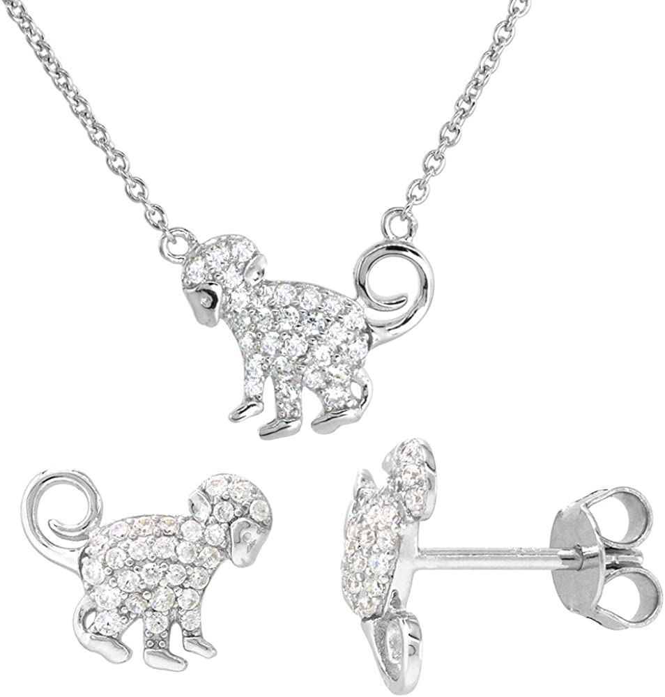 16 Inch Necklace 925 Sterling Silver Rhodium-plated Cubic Zirconia Micro Pave With 2inch Ext