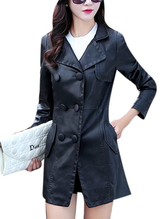 Youtobin Women's Long Faux Leather Button Everyday Bomber Jacket 3XL Black
