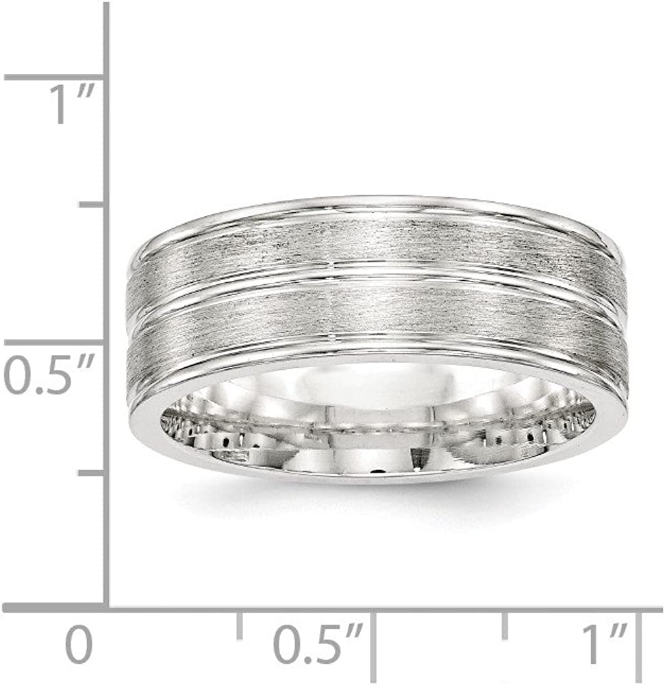 Sterling Silver Wedding Band Ring Brushed 8 mm SS 8mm Brushed Fancy B