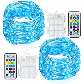 GDEALER 2 Pack Fairy Lights Battery Powered String Lights Multi Color Changing LED String Lights Waterproof 50 Led 16ft RGB Lights with Remote Control for Bedroom Patio Garden Stroller Christmas Tree