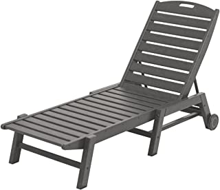 product image for POLYWOOD NAW2280GY Nautical Wheeled Chaise, Stackable, Slate Grey