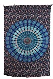 Amitus Exports(TM Premium Quality 1 X Peacock Flower Indian Tapestry 80''X53''(Approx.) Inches Blue Multi Color Twin Size Cotton Fabric Tapestry Hippy Indian Mandala Throws (Handmade in India)