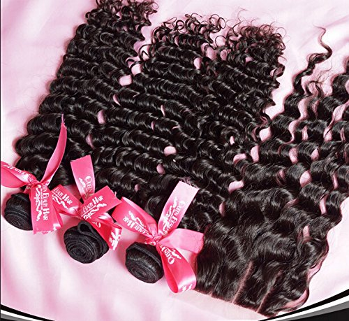 Wholesale 7A Indian Virgin Remy Human Hair 3 Bundles With 4''x4'' 3 Part Lace Closure Deep Wave Natural Color Trademark:DaJun8''closure+14''14''14''weft by DaJun