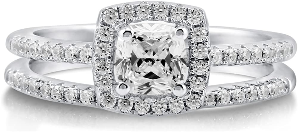 BERRICLE Rhodium Plated Sterling Silver Cushion Cut Cubic Zirconia CZ Halo Engagement Wedding Ring Set 0.89 CTW