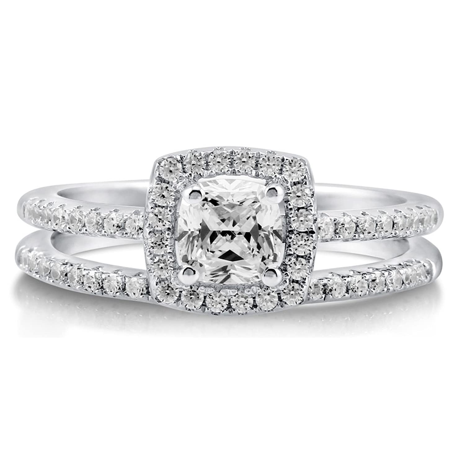 Amazon.com: BERRICLE Rhodium Plated Sterling Silver Cushion Cut Cubic  Zirconia CZ Halo Engagement Ring Set: Jewelry