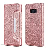 UEEBAI Case for Galaxy S7 Edge,Luxury Bling Glitter Case [Big Magnetic Buckle] [Card Slots] Stand Funtion [Support Wireless Charging] PU Leather Flip Wallet Cover for Samsung Galaxy S7 Edge-Rose Gold