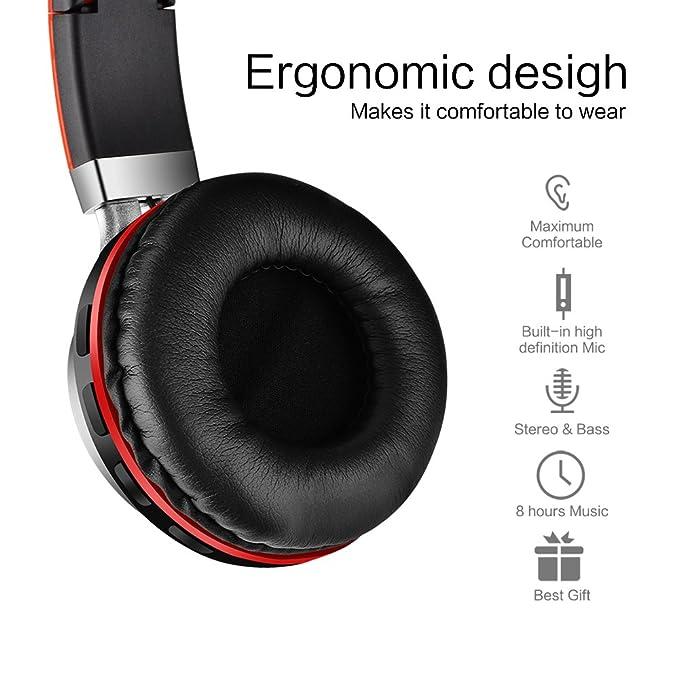 Aita BT816 Auriculares Bluetooth de Diadema Plegable, Cascos Estéreo con luz LED, radioFM, ranura para tarjeta de memoria micro SD, Micrófono incorporado ...