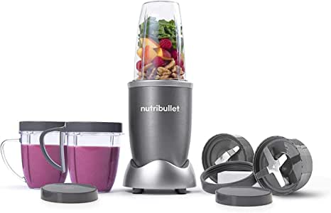 Nutribullet 600 Watts, 12 Piece Set, Multi-Function High Speed Blender, Mixer System with Nutrient Extractor, Smoothie Maker, Gray, 2 Years Warranty