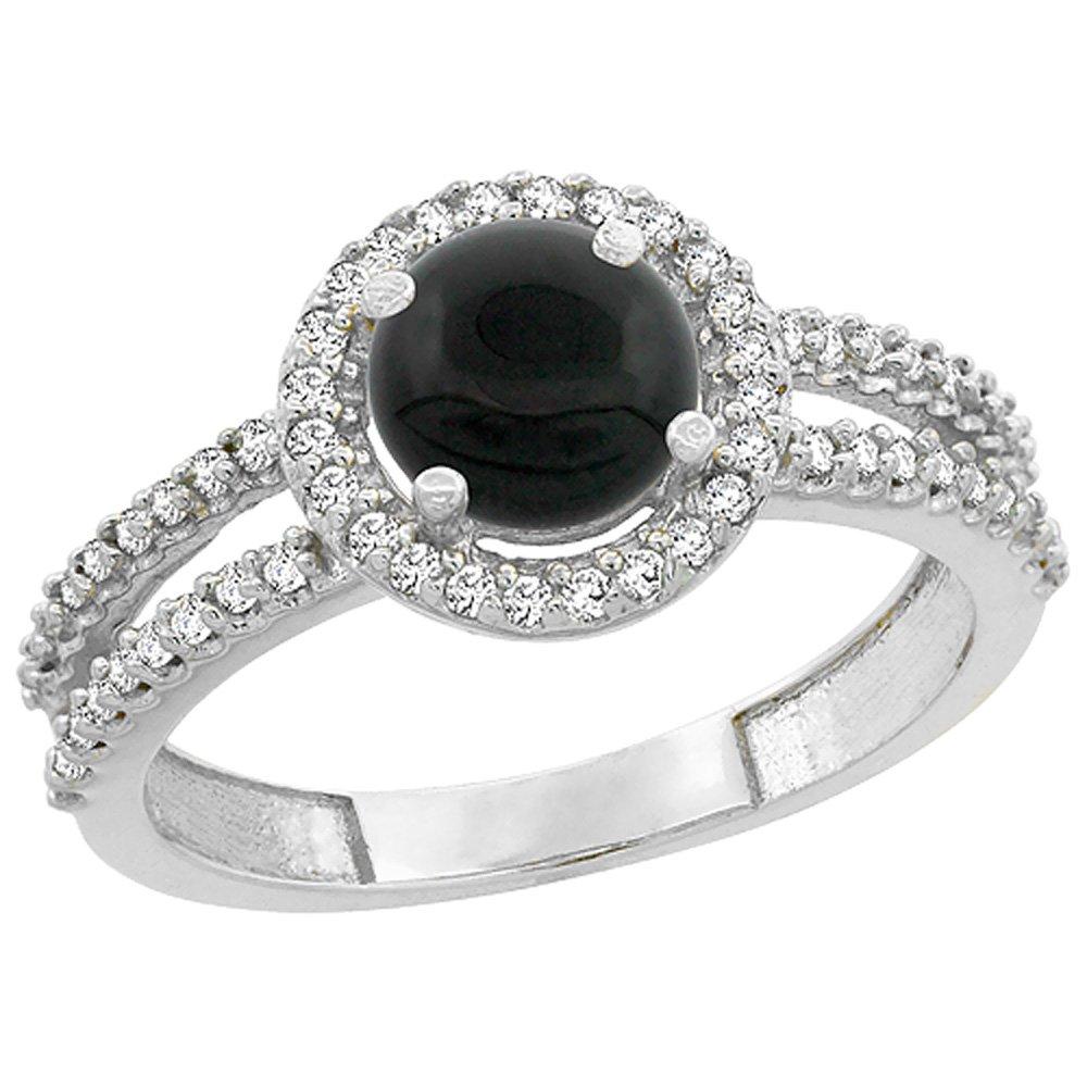 14K White Gold Natural Black Onyx Diamond Halo Ring Round 6mm, size 9.5