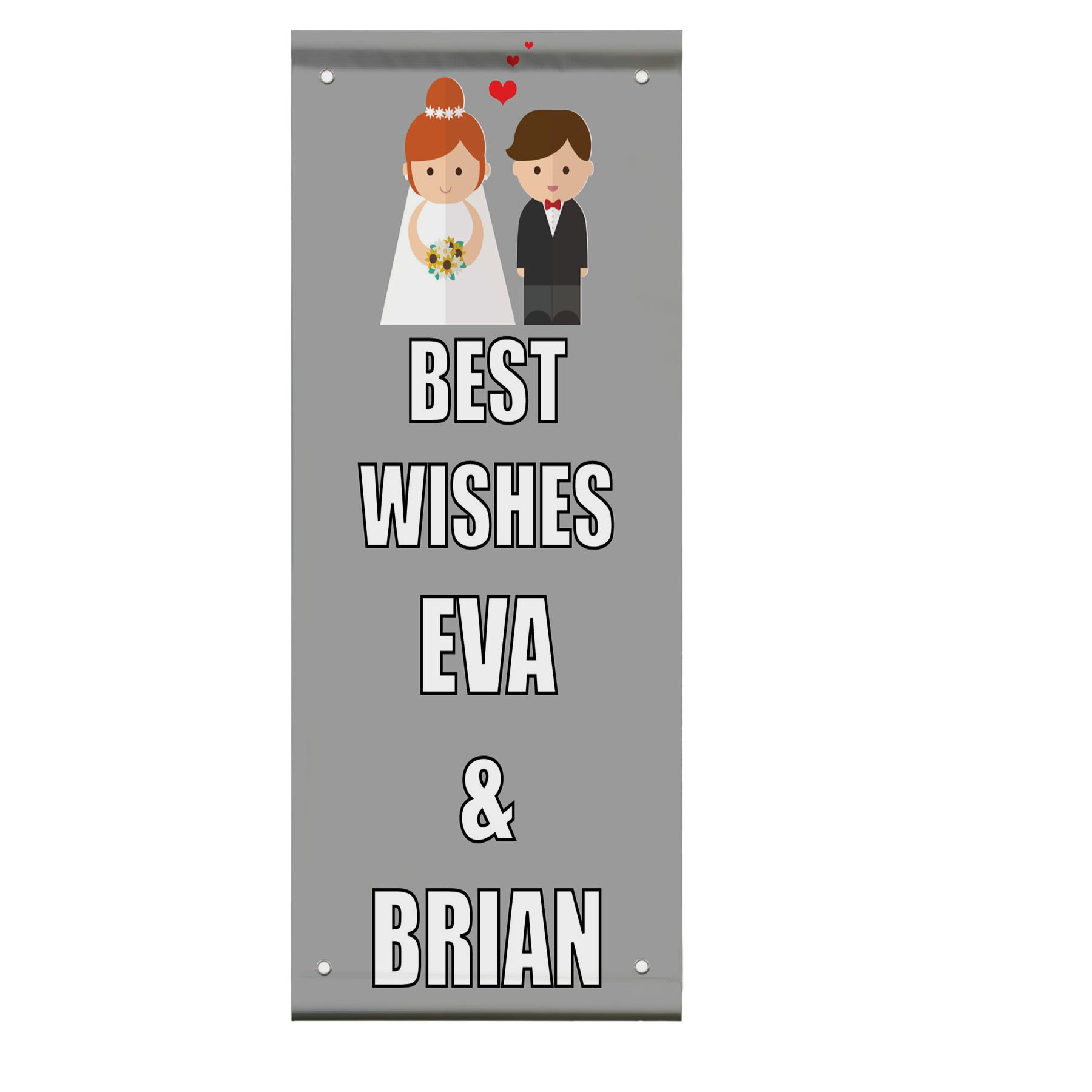 Wedding Marriage Best Wishes Wedding Party Custom Double Sided Pole Banner Sign 24 in x 48 in w/ Wall Bracket