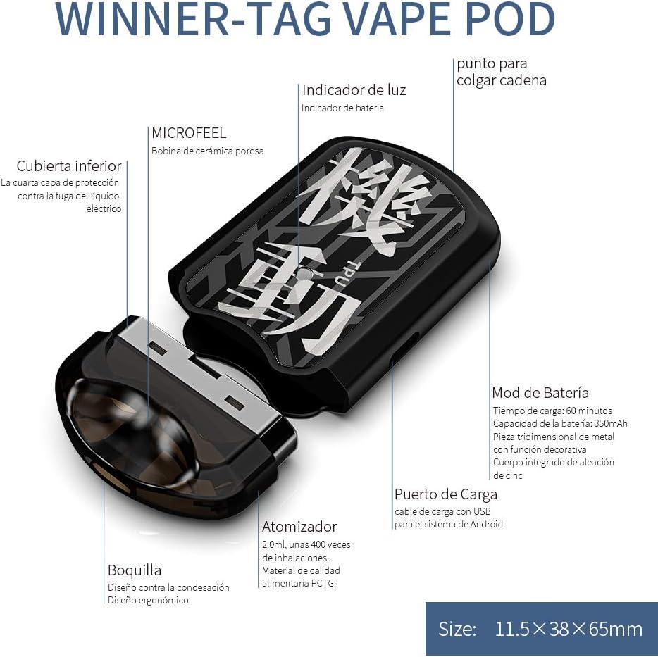 Cigarrillo Electronico cigarro electrónico vaper kit Manvap® Winner Tag Cigarrillos Electrónicos, Bobina de cerámica porosa,sin nicotina,dog tag pod(Negro): Amazon.es: Salud y cuidado personal