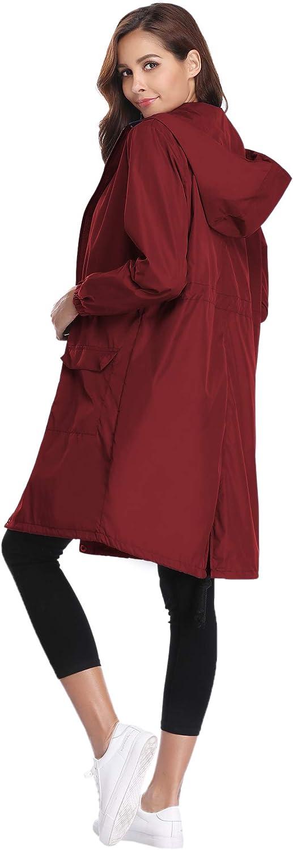Veste de Pluie Femme Manteau Imperm/éable Poncho Pluie /à Capuche Zipp/é Cape de Pluie Manches Longues Coup Vent Raincoat pour Voyage Camping Randonn/ée Vacance Unisexe