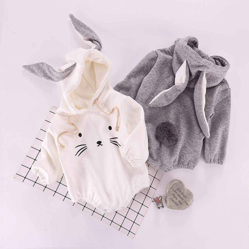 Kaicran Unisex Baby Rabbit Hoodie Romper Boys Girls Long Sleeve Winter Warm Jumpsuit Cute Coat