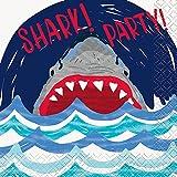 Unique 72531 Shark Party Beverage Napkins, 16-Count